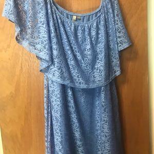 Light blue off the shoulder lace dress